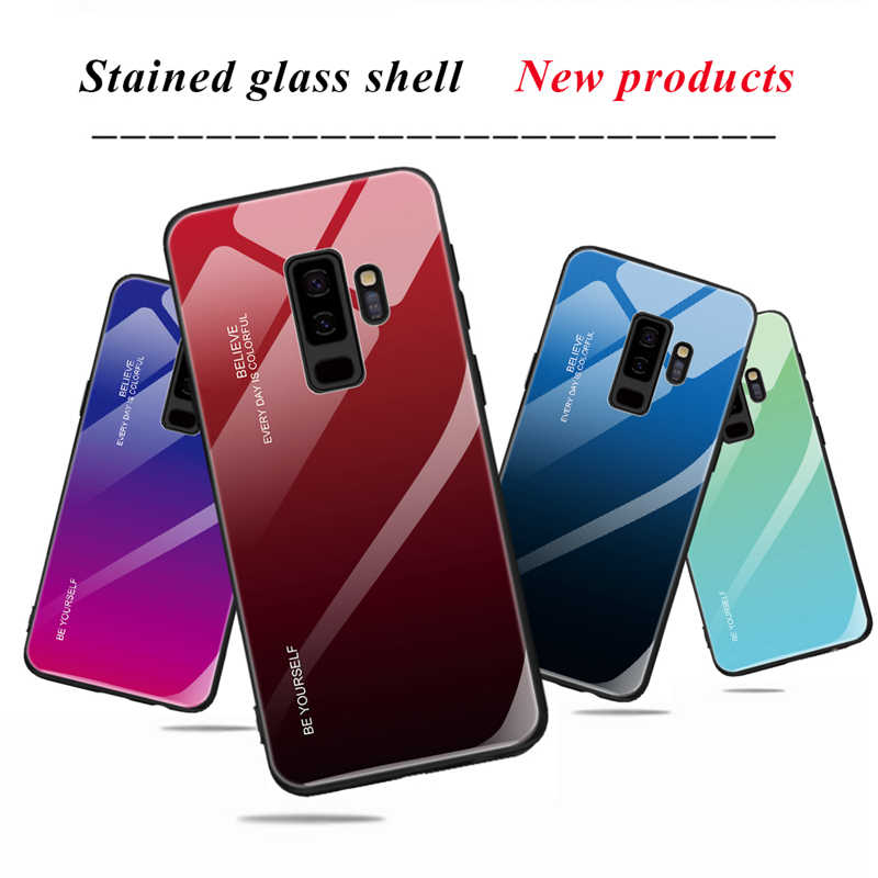 Gradient Tempered Glass Case For Samaung Galaxy S10 S8 S9 Plus A30 A50 M20 M10 A5 2017 A6 A8 J4 J6 Plus A9 J8 A7 2018 Hard Cover