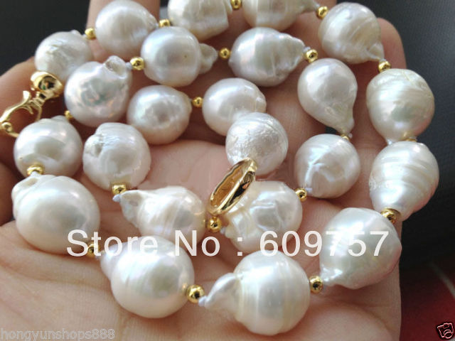 Use Natural Pearl NECKLACES Natural Jewelry Beautiful 13-18mm white baroque reborn FW pearl necklace 18 silver-jewelry jiuduo jewelry genuine luxury support natural pearl necklace for women beautiful shell necklaces simulated crystal jewelry