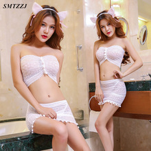 SMTZZJ Lovely Cosplay Cartoon Cat Ear Pierced Bra Brief Set Kawaii Women Skirt Underwear Sexy Lingerie Ear+skirt+bra+underwear