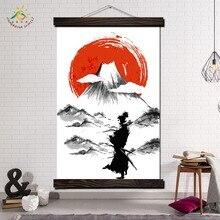 Самурай Япония Воин Современные Wall Art Печать Поп-Арт Плакаты и Принты Scroll Холст Картины