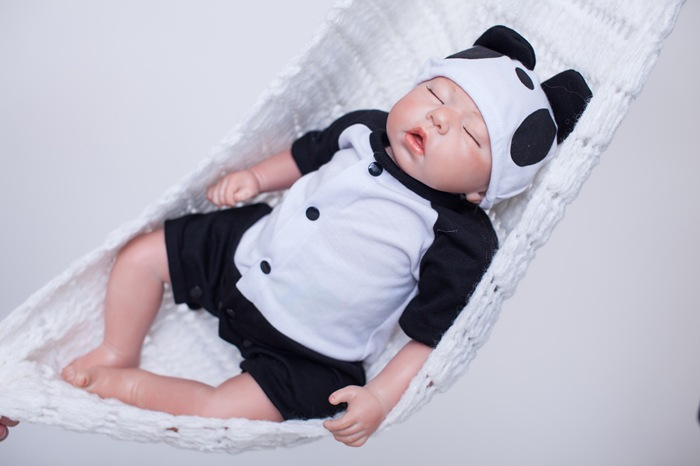 50cm Reborn Baby Doll Cute Panda Clothes Lifelike Vinyl Baby Toys Soft Reborn Toddler Bebe Collection Dolls Kids Christmas Gifts short curl hair lifelike reborn toddler dolls with 20inch baby doll clothes hot welcome lifelike baby dolls for children as gift