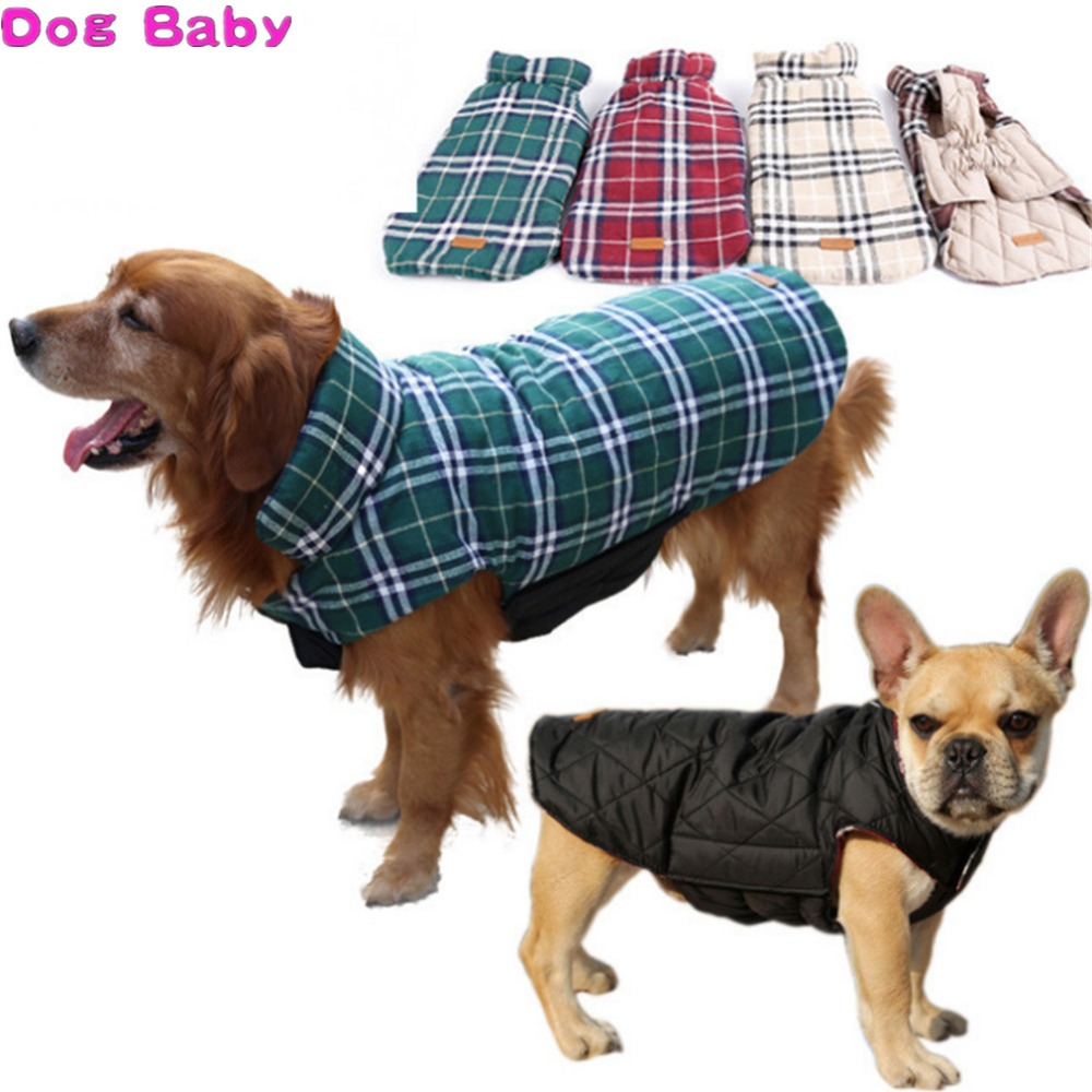 DOGBABY Vattentät Reversibel Hund Jacka Varm Plaid Winter Dog Coats Djurkläder Elastic Small Large Dog Clothes Höst Vinter