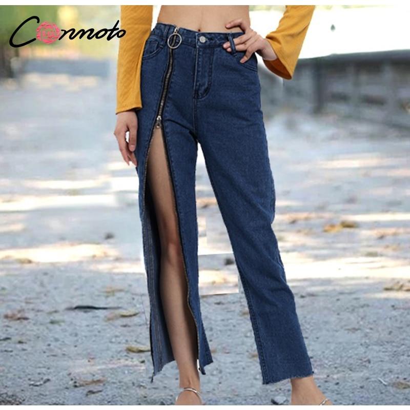 432766185 Conmoto High Street jeans vaqueros azul oscuro con cremallera Split Girls  Jeans pantalones cintura alta Sexy Club Loose Trouser