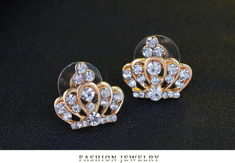 Dubai Sieraden Sets Gold Crown Ketting/Oorbellen/Ring/Armbanden Voor Vrouwen Sieraden Sets Crystal Bridal Set Bruiloft sieraden Brinco