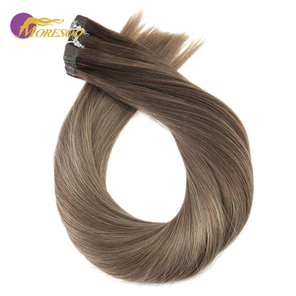 Moresoo 14-24 Inch Tape In Human Hair Extensions Real Brazillian Remy Hair Ombre Balayage Colored Hair 2.5G/PCS 25G-100G