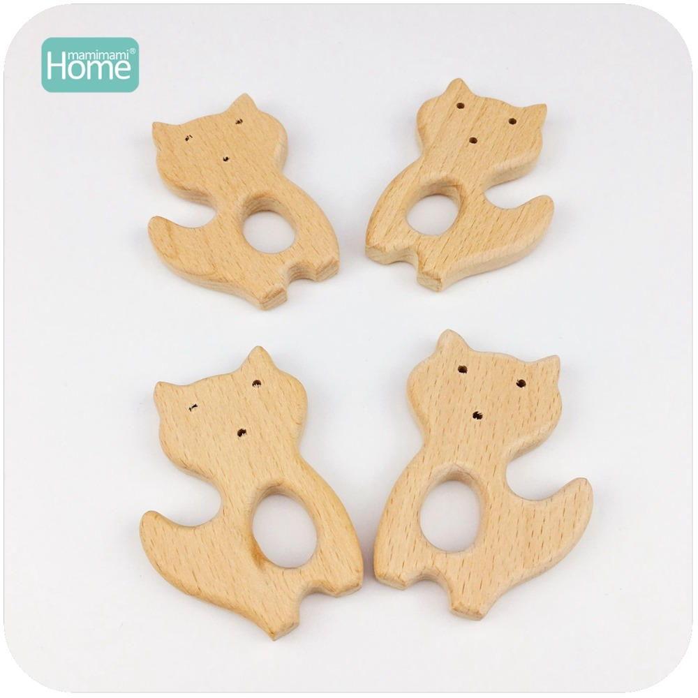 MamimamiHome Baby Rattles Wooden Fox 20pc Can Chew Beech Wooden Teether Bracelet Toys For Newborns Baby Montessori Gym Toy