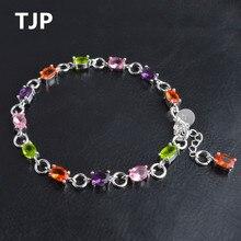 TJP 2018 Summer Hot Female Color Crystal Bracelets Fashion Silver 925 Bracelets For Women Engagement Party Girl Lady Birthday цена и фото