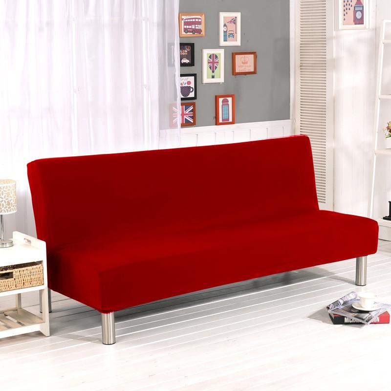 US $22.99 40% di SCONTO|Fodera Divano Copridivano divano letto copertura  Elastica Della Caramella solido Rosso All inclusive Copertura Per Divano ...