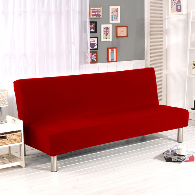 Solid Sofa Cover Elastic Bed Slipcover Candy Red All Inclusive For