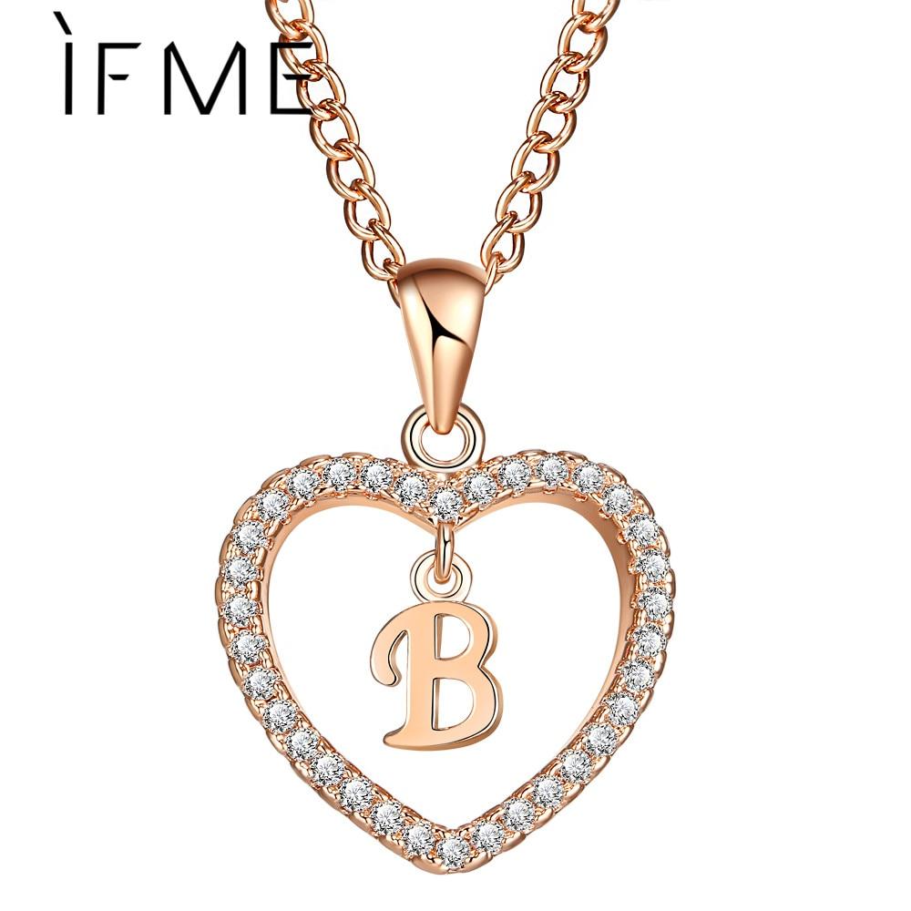 IF ME Fashion Gold Color Love Heart font b Crystal b font Long Pendant B Letter