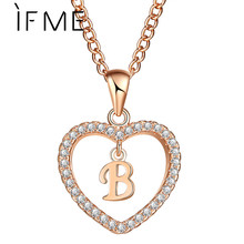 IF ME Fashion Gold Color Love Heart Crystal Long Pendant B Letter Shape Necklace For Women Cubic Zirconia Initial Choker Jewelry