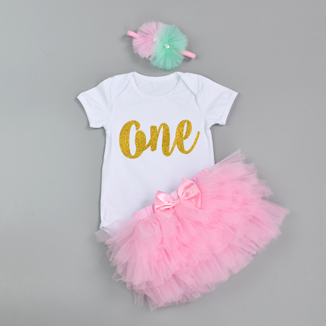 Fashion Baby Girl clothing Set Bodysuit jumsuit set Cotton Romper+6 layer tutu skirt Headbands Infant 1st Birthday Clothing suit 3
