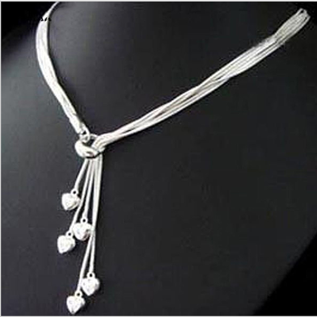 9ed1124fccf97 fashion silver jewelry roll snake chain five sweet heart pendant ladies  silver chain jewelry necklace N39