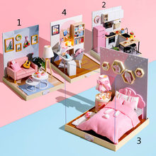 Bedroom Study Living Room Kitchen Dollhouse Miniature Furniture LED Lights Dust Cover Kit Wooden Puzzle Doll Houses DIY Toy Gift(China)