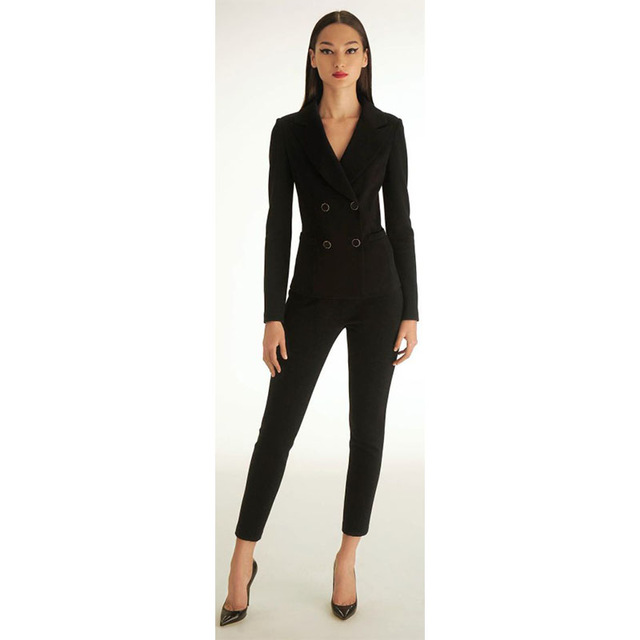 Black Womens Tuxedo 2 Piece Set Women Business Suit Female Office