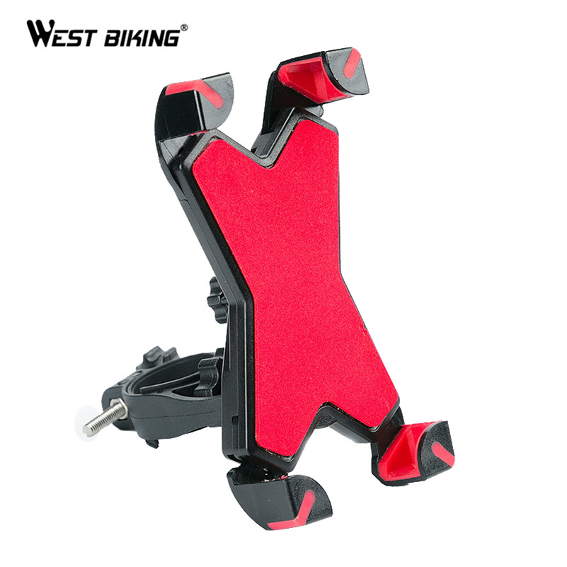 West Biking 360 Degree Rotation Bicycle Phone Holder Upgraded MTB Bike Holder Support Stand Adjustable Phone Width 3.5 to 7inch