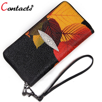 CONTACT S Genuine Leather Wallet Women Bag Long Printing Zipper Clutch Female Purse Card Holder Phone