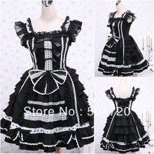 V-1034 Schwarz baumwolle Klassische Halloween kostüme Gothic Lolita Kleid/viktorianischen kleid Cocktailkleid US6-26 XS-6XL