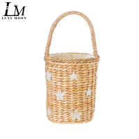 Cute Beaded Star Smile Bucket Bag Boho Summer Handbags Basket Woven Straw Beach Bags cylinder Women Corn Skin Shopper Totes A47