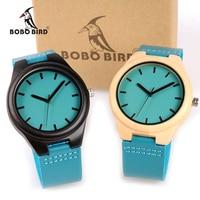 BOBO BIRD WF19F20 Bamboo Wooden Watches Hot Blue Leather Band Ebony Pine Wood Case Quartz Watch