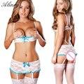 2017 hot sale sexy lingerie mesh perspective women underwear erotic lingerie lace bow exposed chest temptation lingerie sets