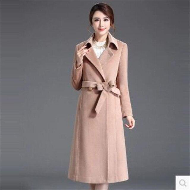 e23607705b4eff Herfst winter 2017 vrouwen kleding nieuwe stijl wol overjas  lange over de  knie slanke