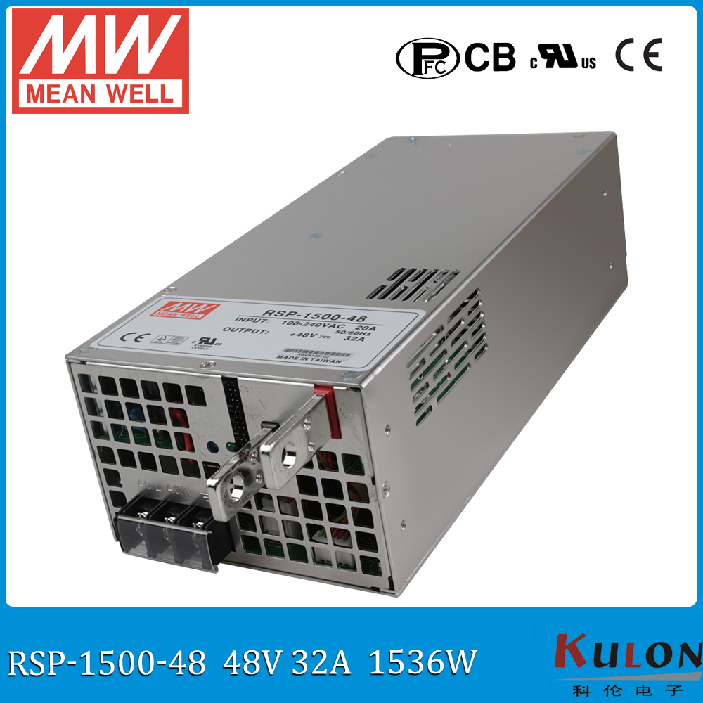 Original MEAN WELL RSP-1500-48 1500W 32A ac dc meanwell 48V Power Supply  with PFC current sharing (Parallel operation) original mean well rsp 2400 12 2000w 160a 12v voltage trimmable meanwell power supply 12v 2000w with pfc in parallel connection