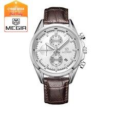 MEGIR новая мода военная кожа кварцевые часы мужчин роскошные световой хронограф аналоговые часы человек наручные часы 5005