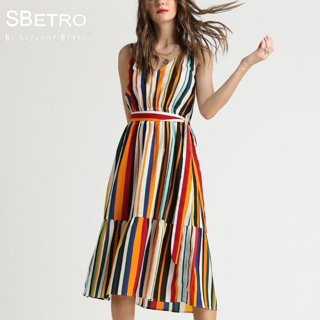 9965517dc72a SBetro By Suzanne Betro Midi Dress Female Blue Stripe Scoopneck Sleeveless  Tier Sash Waist Casual Summer Women Dresses Plus Size