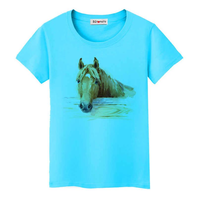 BGtomato супер крутая 3D лошадь футболка прохладные летние топы Горячая Распродажа Забавные футболки оригинальный бренд Повседневная рубашка Прекрасная 3D лошадь футболка
