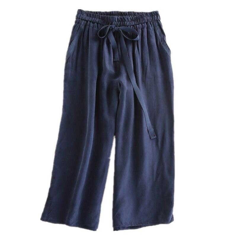 2019 Women Spring Summer   Wide     Leg     Pants   Bow Tie Drawstring Sweet Elastic Waist Loose Ankle-length   Pants   Trousers Pantalones