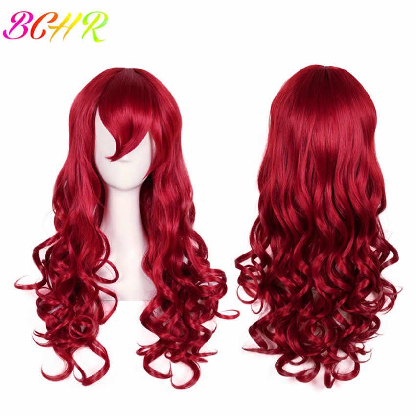 BCHR длинные волнистые синтетические парики с челкой для женщин розовый красный белый светловолосый парик для косплей парик