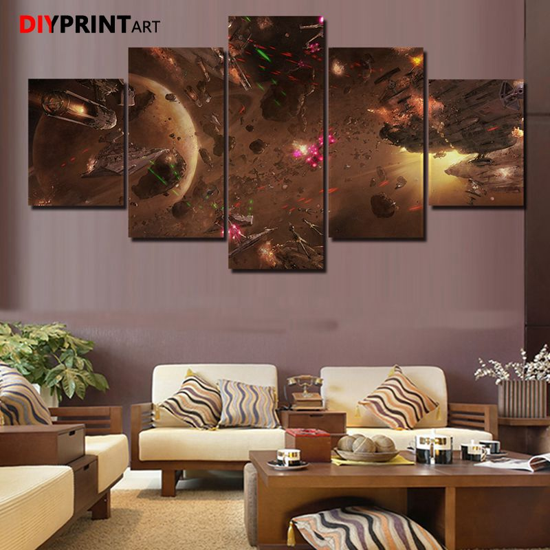 Canvas Paintings Game Poster StarWars 5 Panels Modern Canvas Printed Painting Wall Decorations for Living Room image