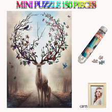MOMEMO Elk In Forest Adults Paper 150 Pieces Jigsaw Puzzles Tube Puzzle Teens Kids Brain Teaser Assemble Toys with Photo Frame