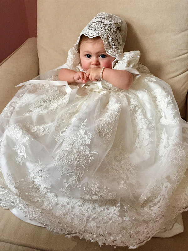 New Cute Long Christening Gown for Baby Girls Lace Pealrs Short Sleeve Customized Baptism Dress White Ivory cute short sleeve round neck ruffled balll gown dress for girls