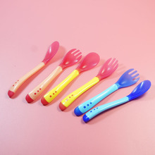 Weaning flatware sensing tableware temperature spoon feeding head care safety silicone