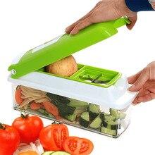 Heißer Verkauf Hause Küche 12 STÜCKE/1 Satz Multifunktions Gemüse Schredder Maschine Obst Gerät Schneider Gewürfelte Grün Artefakt
