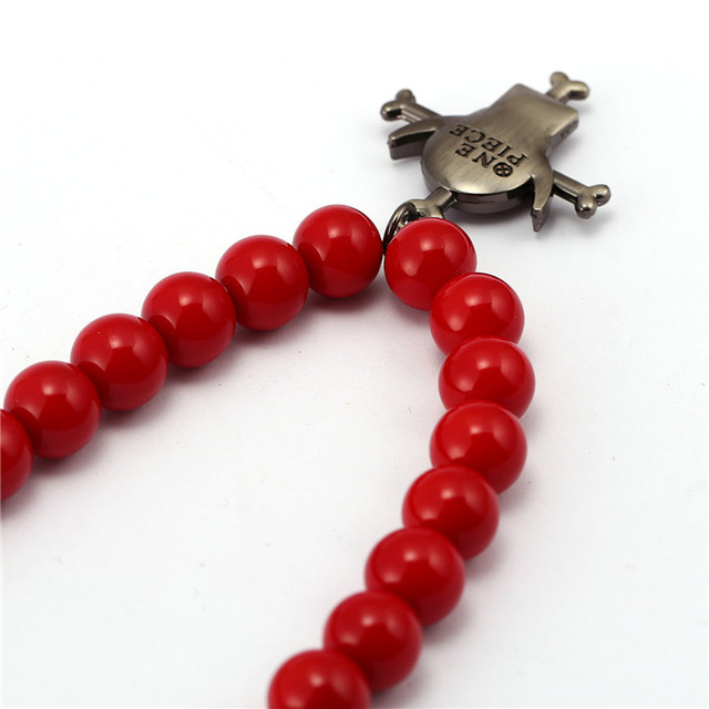 Anime One Piece Portgas D Ace Red Coralline Beads Necklace