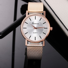 Stainless Steel Women Quartz Watch Big Dial Silicone Band Wr