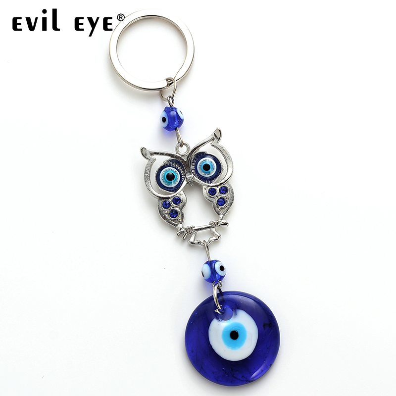 Evil Eye  Fashion Blue Car Key Chain Fashion Owl Style Lucky Crystal Keychain Jewelry Pendant With BULE EVIL EYE BEAD EY4713