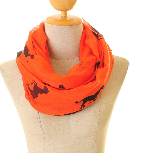 Red Voile Horse Infinity   Scarf   Summer Shawl Loop Circle Hijab   Scarves     Wraps