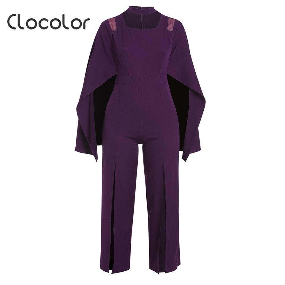 Clocolor Women's Jumpsuit Solid Purple Plain Full Length Slim Wide Legs 2018 Modern Fashion Casual Female Girls Women's Jumpsuit