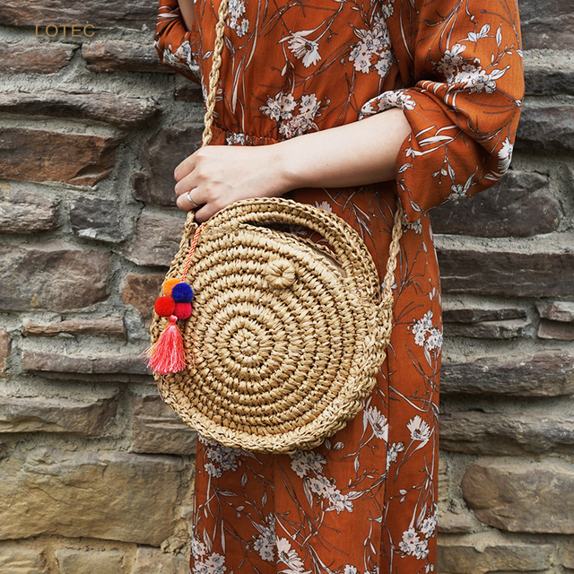 91f967135f LOTEC Women Bohemian Bali Mini Round Straw Bag Summer Beach Vintage  Handmade Shoulder Bag Woven Circle