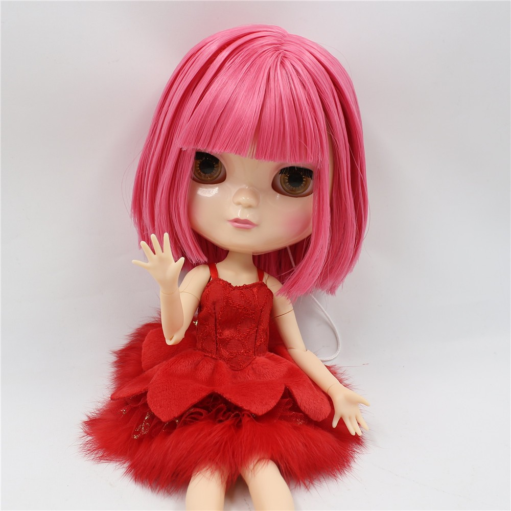 Neo Blythe Doll with Pink Hair, White Skin, Shiny Face & Jointed Azone Body 4