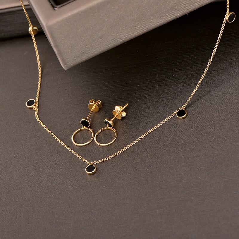 Necklace Bronze Onyx Circle Stone 18 Inch