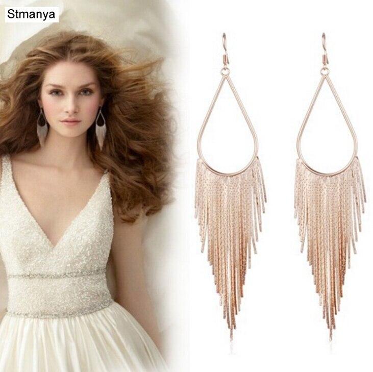 Hot European American Popular Selling Tassel Earrings Long Section Jewelry Ear Stud Ear Hook 12126