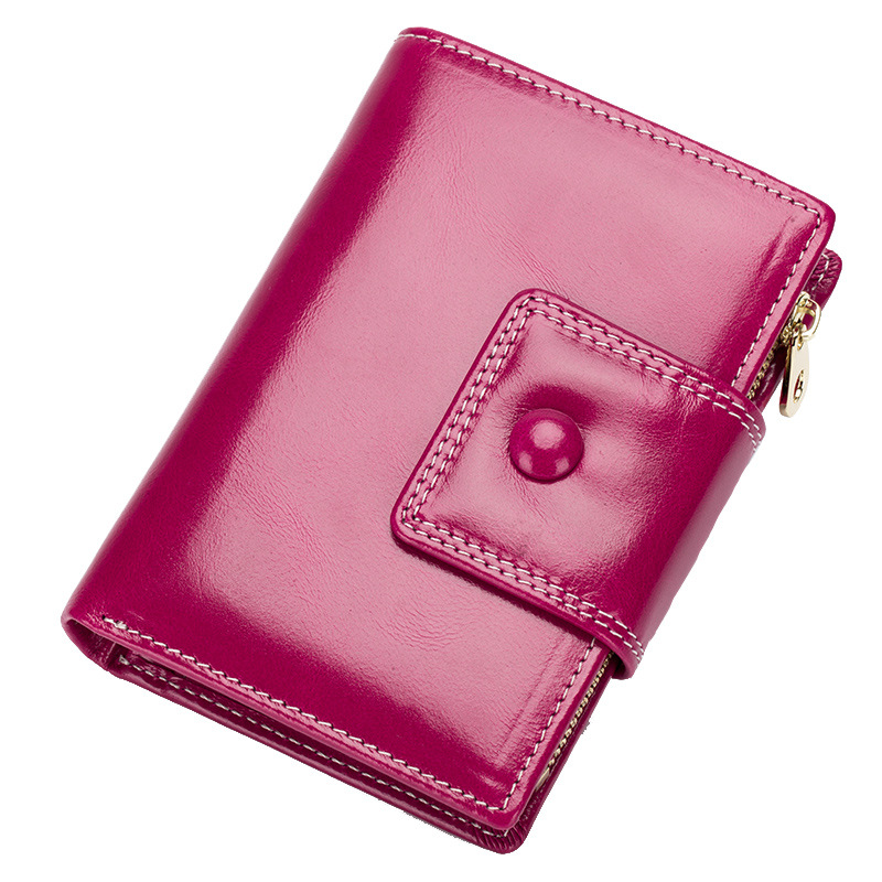 2018 Genuine Leather Short Wallet Women Lady Wallet Women Purse Oil Wax Leather Small Female Wallet Card Holder Day Clutch DC242 2017 new genuine leather wallet women lady long wallets women purse female 5 colors women wallet card holder day clutch dc234