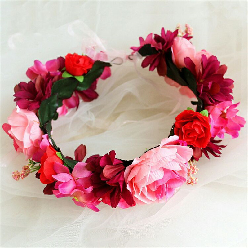 HIYONG 2019 Lastest Floral Crown Headband For Girl Flower Crown Diy Wedding Flowers For Hair Photograph Accessories in Hair Jewelry from Jewelry Accessories