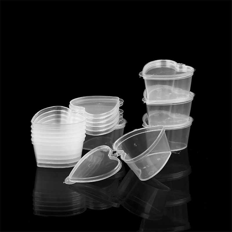 2 Pcs/Set Heart Shape Takeaway Sauce Cup Containers Reusable Clear Plastic Pot Jar Container Travel Portable Slime Storage Box