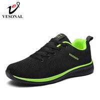 VESONAL бренд 2019 летние сетчатые Flyknit мужские туфли повседневная легкая дышащая удобная прогулочная обувь мужские кроссовки обувь